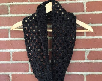 Infinity Scarf, Black Crochet Scarf, Gift for her