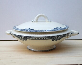 Vintage French Tureen Antique French decor Vintage Ironstone Tureen Bowl With Lid - Earthenware Ironstone - blue transferware - Terre de fer