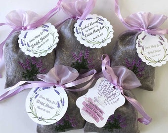 Lavender Sachet Favors with Custom Tags | Bridal Shower Sachets | Baby Shower Thank You Gift | Dried French Lavender Buds | Personalized 35