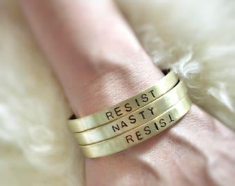 Resist Brass Cuff Bracelet - Handstamped Jewelry - Woman's Power - Nasty Woman _Woman's Rights