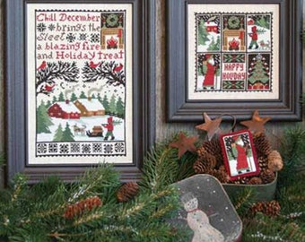 PRAIRIE SCHOOLER December Book No. 150 Christmas counted cross stitch patterns at cottageneedle.com Santa Claus woodland reindeer embroidery