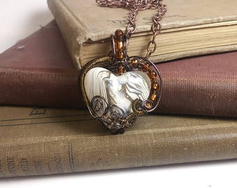 Valentines Day Reversible Brown and Gray Wire Wrapped Pendant