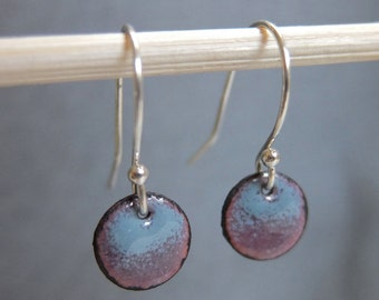 Ready to Ship: Petite Ombre Enamel Earrings, Lavender and Slate Gray Kiln Fired Glass Enamel, Sterling Silver Hooks, Small Dangle Earrings