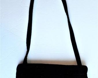 Vintage Carpet Bags of America Purse Black Velvet shoulder bag with goldtone metal fixture