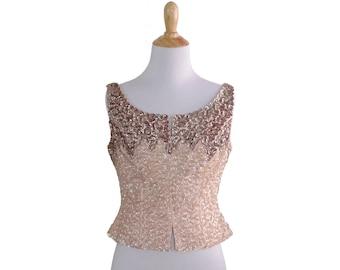 Vintage 50s Pink AB Sequin Burlesque Bombshell Crop Top