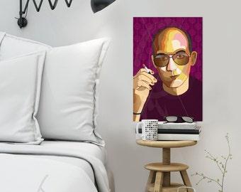 "Portrait ""Hunter"" - Tribute To Hunter S Thomson- FRAMED ART, Literature, iconArt, Personalized Gift, Name, Book Lover, Gift, For Women, For"