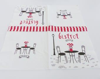 8 black white Paris Bistro napkins and 1 red towel 2 33 X 33 cm format napskin lunch sets