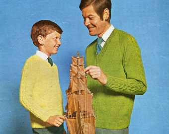 """Vintage mens jumper knitting pattern PDF mens sweater v neck sweater cable sleeve pullover 26-44"""" DK light Worsted 8Ply PDF instant Download"""