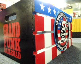 GRAND FUNK RAILROAD vinyl storage crate lp's Hand Made in Lancaster By the Amish and Hand Painted by Bill Schuler