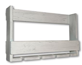 Wine Rack Rustic Distressed White - Wall Mounted