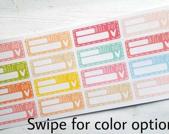 Bill due planner stickers - Erin Condren - Happy Planner - pay bills - happy planner - filofax - gift for her - finance