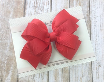 Red Hair Bow - Hair Bow - School Uniform Bow - Red Bow - Girls Hair Bows - Stacked Red Bow - Red Toddler Bow - Toddler Bow - Red Baby Bow