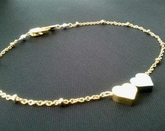 HEART Bracelet, Heart Anklet - Chain Charm Bangle Personalized Friendship Bracelet, Bridal Bridesmaid Wedding Statement Christmas GIFT