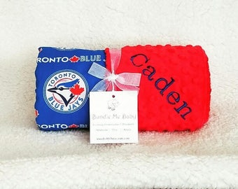 Toronto Blue Jays Baby Blanket Minky Name Embroidered Gift Set Large Minky PERSONALIZED Baby Boy Girl Miami Marlins Detriot Tigers