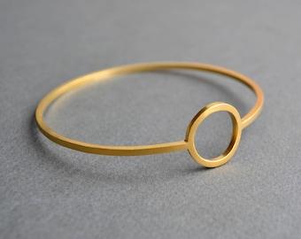 Gold Vermeil Full Moon Bangle | Contemporary Gold Bangle | Gold Circle Bangle