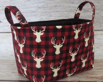Cream Deer Buck Head -  Red Black Buffalo Checks Plaid Fabric - Storage Fabric Organizer Bin Container Basket - Woodland Fabric