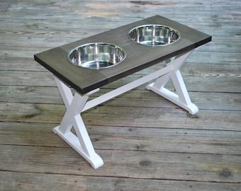 X-Large - Dog Bowl Stand - XL - Raised Dog Feeder - Farmhouse Table - Dog Bowl Holder - Elevated Dog Feeder - Raised Dog Bowls - Dog Feeder