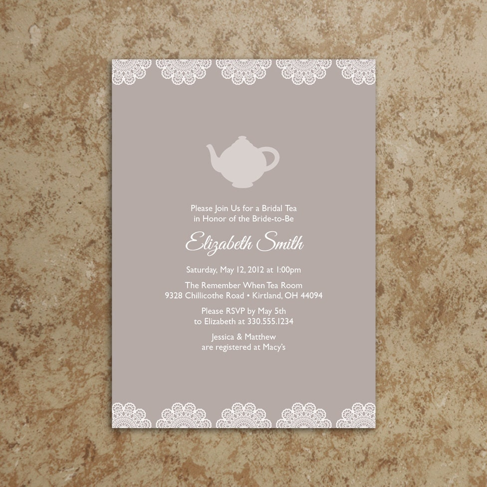 Tea Party Invitation Printable PDF Tea Party