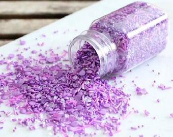 Sprinklefetti Sparkle Purple Sprinkles Mix, Sparkling Sugar, Nonpareil, Sequins, Cake Sprinkles, Cupcake Sprinkles, Edible Sprinkles