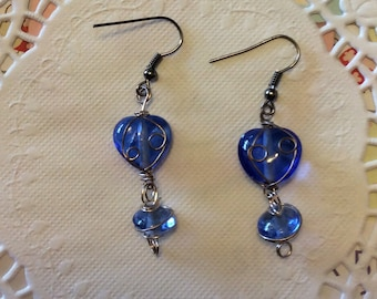 FREE SHIPPING, Earrings, Dangle, Blue glass heart bead