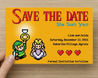 DIY Printable 8-Bit Video Game Wedding Save the Date, Gamer Wedding, Nerdy Wedding, Printable Save the Date, Wedding PrIntables