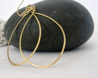 Large Drop Hoop Earrings Gold Filled dangle. Stocking stuffer. Gift for her.