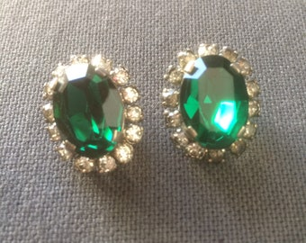 Vintage classy costume jewelry, clipon earrings emerald color stone and rhinestones