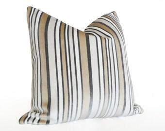Designer Pillow Covers, Textured Pillows, Cream Pillows, 18x18, Striped Throw Pillow, Velvet Pillow, Grey White Pillows, Decorative Pillows
