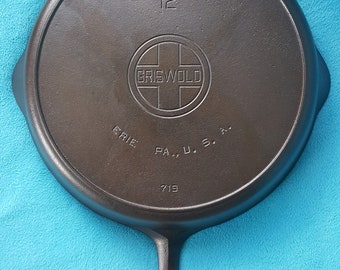Griswold #12 Cast Iron Skillet Large Block Logo Heat Ring Cleaned Seasoned 719 Collector grade