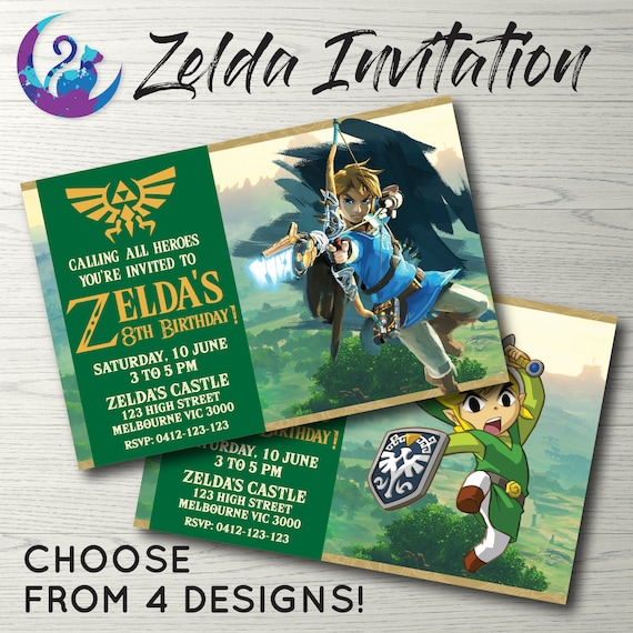 Zelda invitation zelda invite zelda birthday party zelda stopboris Gallery