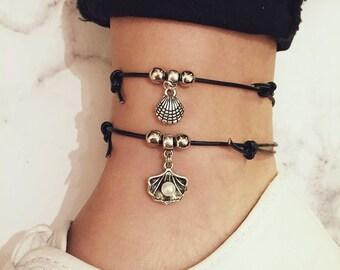 Sea Shell Anklet / Pearl Anklet, Oyster Anklet, Pearl Oyster, Pearl Jewellery, Pearl Jewelry, Shell Anklet, Beach Shell Anklet, Boho Anklet