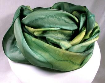 Green Scarf, Hand Painted Silk Scarf - Quintessence Silk - Emerald Rain
