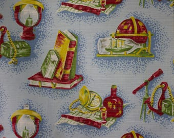 vintage 1950s pictoral nautical  print cotton interiors fabric