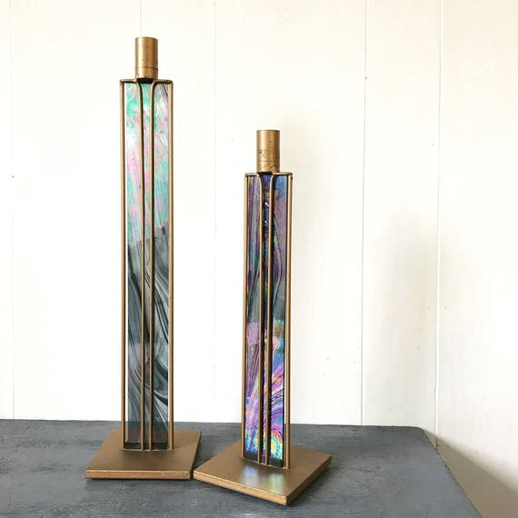 handmade candlestick holders - gold metal and iridescent stained glass - tall candle holders - Art Deco - Set of 2