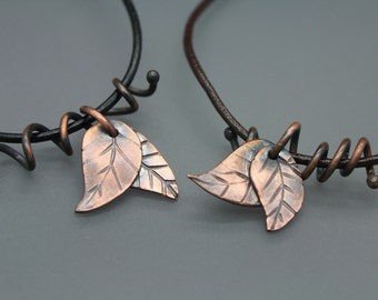 Leaf Necklace, Leaf Jewelry, Leaf Pendant, Leaves Jewelry, Copper Leaves, Copper Leaf Jewelry, Leather And Copper, Copper Necklace