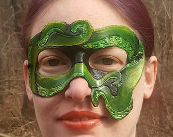 Tentacles Mask - Green and Black Hand Tooled and Hand Painted Leather Mask - Octopus Cthulu Inspired Art Mask