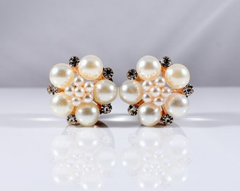 Pearl and Rhinestone Rose Gold Cluster Plugs - Available in 9/16 in, 5/8 in, & 3/4 in.