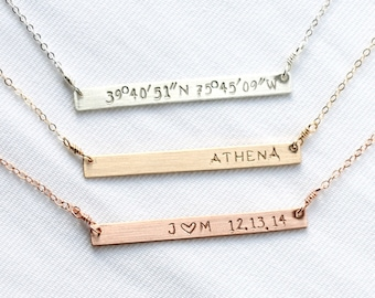 Coordinates Necklace, Sterling Silver Horizontal Bar Necklace, Hand Stamped Name, Anniversary Date, Rectangle, Latitude Longitude, Rose Gold