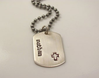 Boys christian gift -MINI DOG TAG- personalized-Hand Stamped Sterling Silver dog tag cross Necklace-first communion gift confirmation gift