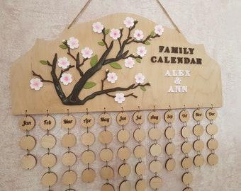 Family calendar, wall calendar, birthday board, family organizer, birthday calendar, custom calendar, family celebration board