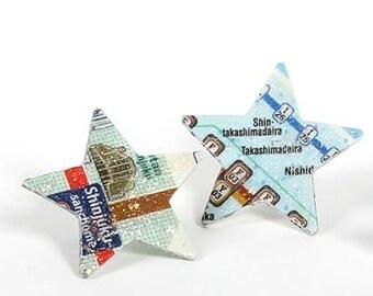 Star in paper earrings Metropilitana maps of Tokyo