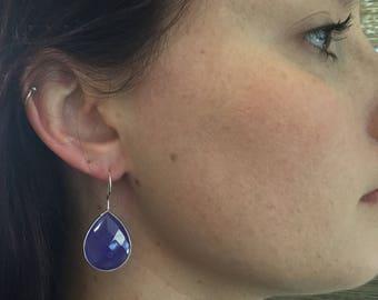 Blue Onyx drop earrings/ blue earrings/ blue stone dangle earrings/dangle earrings/blue earrings/blue/onyx earrings/ gold earrings/gold