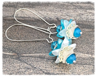 Dangle Earrings, blue flower earrings, blue earrings, flower earrings, earring dangles, earrings for women, jewelry gift by pinkicejewels
