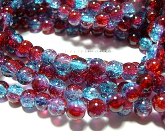 20 Red Blue bicolor Crackle Crystal ref 47 are 8 mm beads