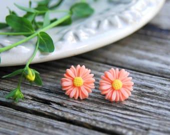 Peach Daisy Earrings . Summer Outdoors . Surgical Steel Studs . Best Friend Birthday Gift . Summer Party Jewelry . Peach Earrings