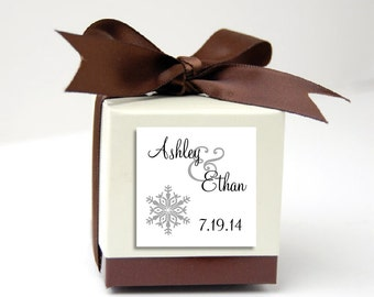 100 Snowflake Wedding Favor Stickers. Personalized printed square labels are 2 inches by 2 inches.