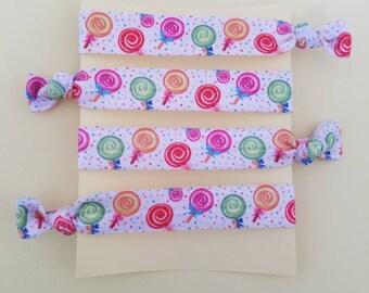 Set of 4 Lollipop elastic hair ties