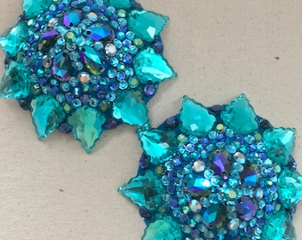 Blue pasties with emerald AB accents