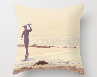 beach cottage decor, 18x18 pillow cover, nautical surfer home decor, beach photo, brown cream, surfer pillow bedding, boys room decor