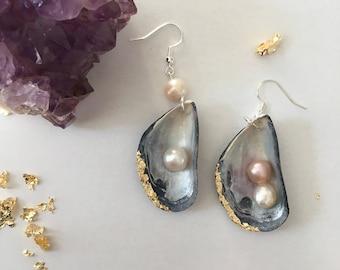 Asymmetric Mussel Shell Earrings